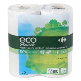 Papel de cocina compacto ecológico Carrefour Eco Planet 2 rollos.