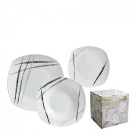 Juego de Vajilla Cuadrado de Porcelana HOME STYLE Scratch 18pz - Decorado