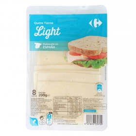 Queso en loncha tierno light Carrefour 200 g.