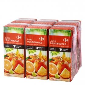 Zumo multifrutas Carrefour pack de 6 briks