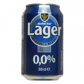 Cerveza Carrefour Lager sin alcohol lata 33 cl.