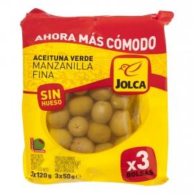 Aceitunas verdes manzanilla Jolca sin hueso pack de 3 bolsas de 50 g.