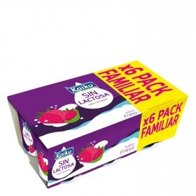 Yogur de fresa Kaiku sin lactosa pack de 6 unidades de 125 g.