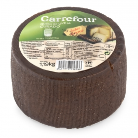 Queso curado puro de oveja mini Carrefour pieza de 1 Kg aprox