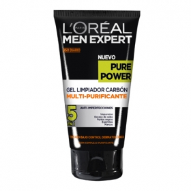 Gel limpiador carbón multi-purificante Pure Power L'Oréal-Men Expert 150 ml.
