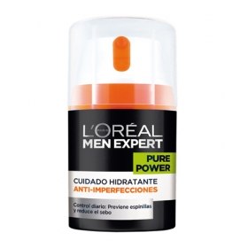 Cuidado hidratante anti-imperfecciones Pure Power L'Oréal-Men Expert 50 ml.