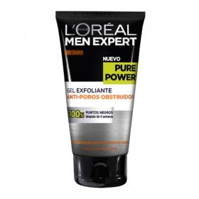 Gel exfoliante anti-poros obstruidos Pure Power L'Oréal-Men Expert 150 ml.