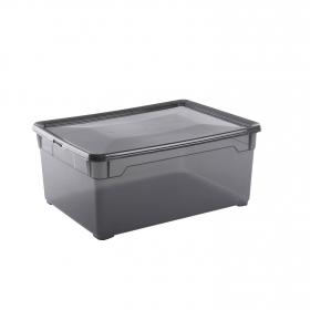 Caja plástico con tapa Basic Box 18 l Fume