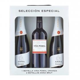 LOTE 108: 2 botellas D.O. Cava Anna de Codorníu brut 75 cl. + 1 botella D.O Rioja Viña Pomal tinto crianza 75 cl.