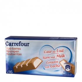 Mini barrita de chocolate con corazón de leche Carrefour 16 ud.