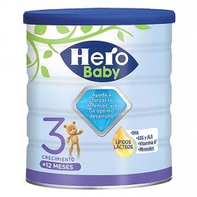 Leche infantil de crecimiento desde 12 meses en polvo Hero Baby Nutrasense lata 800 g.