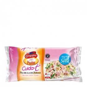 Pechuga de pollo bajo en grasa reducido en sal Campofrío Cuida-t + sin gluten y sin lactosa 380 g.