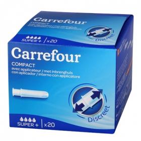 Tampones compact super + con aplicador Carrefour 20 ud.