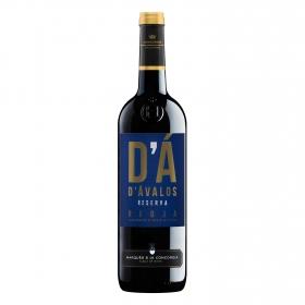 Vino D.O. Rioja tinto reserva D´avalos Marqués de la Concordia etiqueta negra Berberana 75 cl.