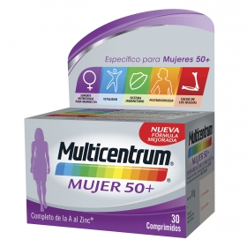 Multivitamínico y multimineral Mujer 50+ Multicentrum 30 comprimidos.