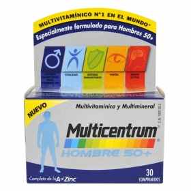 Multivitamínico y multimineral Hombre 50+ Multicentrum 30 comprimidos.