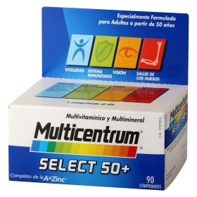 Complemento multivitamínico y multimineral Select 50+ Multicentrum 90 comprimidos.