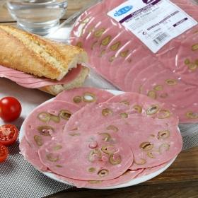 Mortadela de cerdo y pavo con aceitunas