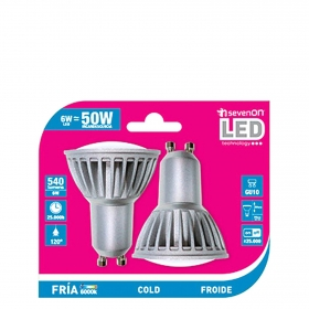 Pack de 2 Bombillas Led Spotlight 6W GU10 Frí�a