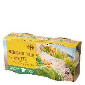 Pechuga de pollo en aceite Carrefour sin gluten pack de 2 unidades de 42 g.
