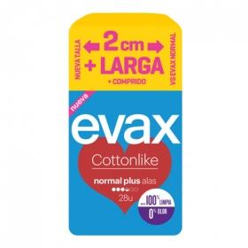 Compresas Cottonlike normal plus con alas Evax 28 ud.