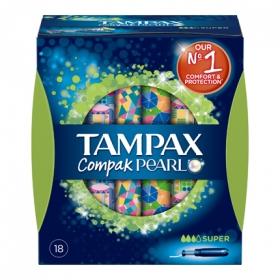 Tampones Compak Pearl super Tampax 18 ud.