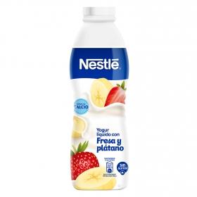 Yogur líquido de fresa y plátano Nestlé sin gluten 750 g.