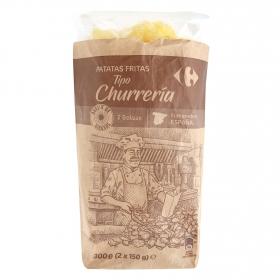 Patatas fritas churrería en aceite de girasol Carrefour pack de 2 bolsas de 150 g.