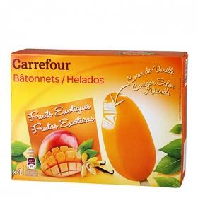 Helado de frutas exóticas y vainilla Carrefour 4 ud.