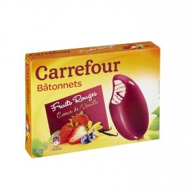 Helado de frutas rojas y vainilla Carrefour 4 ud.