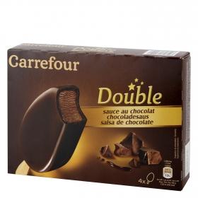 Bombón helado salsa de chocolate Double Carrefour 4 ud.