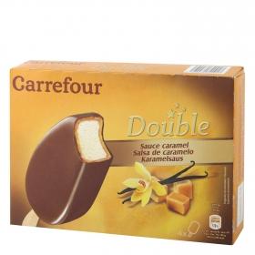 Bombón helado salsa de caramelo Double Carrefour 4 ud.