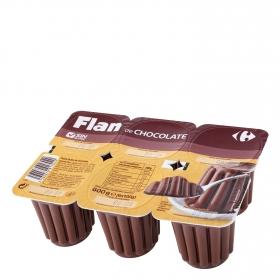 Flan de chocolate Carrefour sin gluten pack de 6 unidades de 100 g.