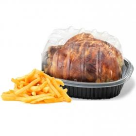 Pollo asado sazonado con guarnición patatas fritas Coren 1 ud.