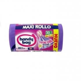 Bolsa basura resist. Perfumada Maxi Rollo Handy Bag autocierre 30L 25 unidades