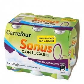 Yogur L.Casei desnatado liquido con mango Sanus Carrefour pack de 6 unidades de 100 g.