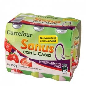 Yogur L.Casei desnatado liquido con fresa Sanus Carrefour pack de 6 unidades de 100 g.