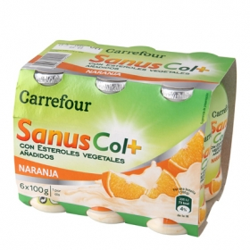 Yogur líquido de naranja SanusCol+ Carrefour pack de 6 unidades de 100 g.