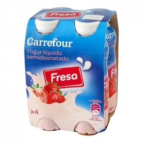 Yogur semidesnatado líquido de fresa Carrefour pack de 4 unidades de 200 ml.