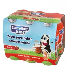 Yogur semidesnatado líquido de fresa Carrefour Kids pack de 6 unidades de 100 g.