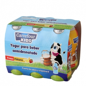 Yogur líquido semidesnatado de fresa y plátano
