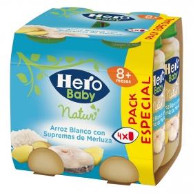 Tarrito de arroz blanco con supremas de merluza Hero Baby Natur pack de 4 unidades de 235 g.