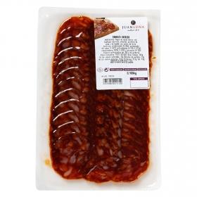 Chorizo ibérico loncheado Juan Luna envase 100 g
