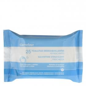 Toallitas desmaquillantes refrescantes para pieles normales y mixta Carrefour 25 ud.