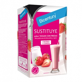 Batido sustitutivo de yogur de fresa Bicentury pack de 5 sobres de 45 g.