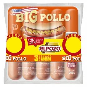 Salchichas BIG pollo El Pozo pack de 3 unidades de 180 g.