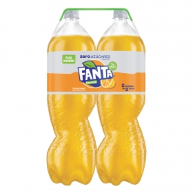 Refresco de naranja Fanta con gas zero pack de 2 botellas de 33 cl.