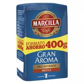 Café molido mezcla descafeinado Gran Aroma Marcilla 400 g.