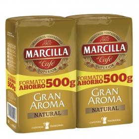 Café molido natural Gran Aroma Marcilla pack de 2 unidades de 500 g.