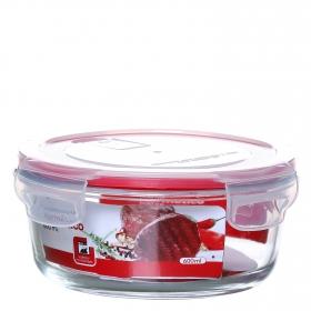 Recipiente Hermetico Redondo de Cristal 0,6 L. - Transparente. Outlet. Producto Reacondicionado